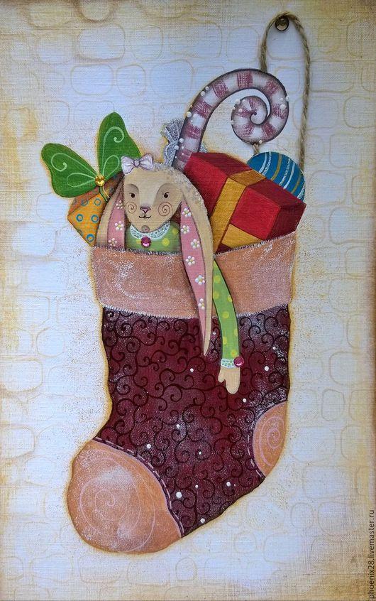 """Открытки к Новому году ручной работы. Ярмарка Мастеров - ручная работа. Купить Картина & Открытка """"Новогодний подарок"""", авторская работа. Handmade."""