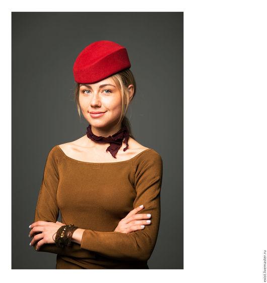 Шляпы ручной работы. Ярмарка Мастеров - ручная работа. Купить Шляпка Премьера из велюра. Handmade. Ярко-красный, шляпка женская