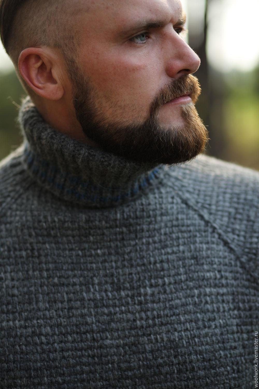 13ca44291cc ... Вязаный мужской свитер шерстяной свитер ручной работы серый свитер  однотонный подарок для мужчины из натуральной шерсти ...