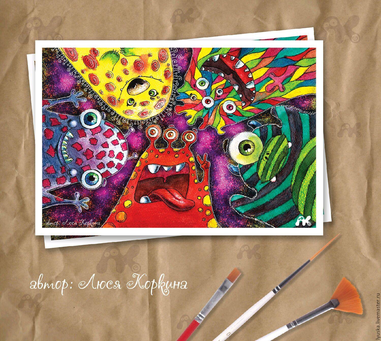 """Cards for All Occasions  handmade. Livemaster - handmade. Buy Открытка для посткроссинга с инопланетянами """"Марсианское сэлфи"""".Postcard, collection"""