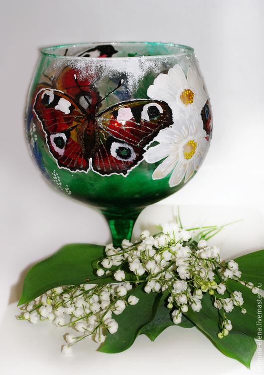 Бокалы, стаканы ручной работы. Ярмарка Мастеров - ручная работа. Купить Бокал Бабочка 2. Handmade. Разноцветный, большой бокал