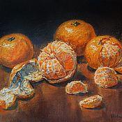 Картины и панно handmade. Livemaster - original item Still life with tangerines, oil painting on canvas.. Handmade.