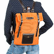 Сумки и аксессуары handmade. Livemaster - original item Backpack leather orange Vogue. Handmade.