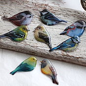 Брошь-булавка ручной работы. Ярмарка Мастеров - ручная работа Птице-брошки семейство №2 :). Handmade.