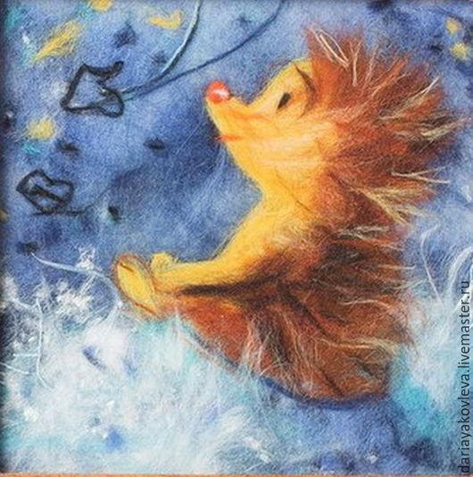 Животные ручной работы. Ярмарка Мастеров - ручная работа. Купить Картина из шерсти Звездопад. Handmade. Синий, звездное небо