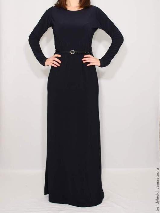 Платья ручной работы. Ярмарка Мастеров - ручная работа. Купить Темно-синее платье длинное платье с длинным рукавом. Handmade.