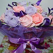 """Цветы и флористика ручной работы. Ярмарка Мастеров - ручная работа ``Розовый вечер"""" Букет из конфет. Handmade."""