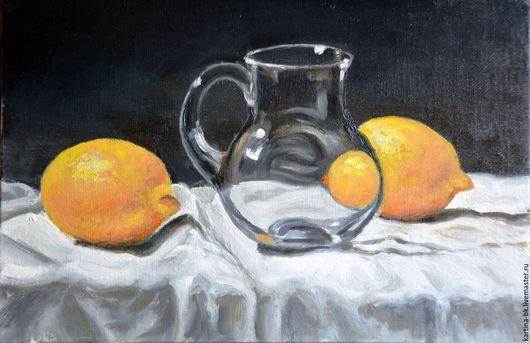 Натюрморт ручной работы. Ярмарка Мастеров - ручная работа. Купить Натюрморт с лимонами. Handmade. Натюрморт, масло, масло