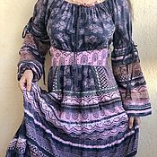 Одежда handmade. Livemaster - original item Cotton dress with lace in boho Provence style ash-pink. Handmade.