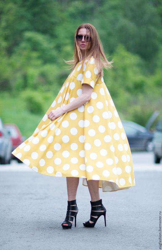 Платье. Платье в горошек. Платье горчичнего цвета. Платье. Модное платье. Ручная работа.