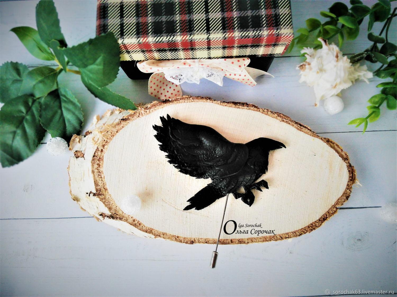 Brooch needle: ' Crow ' genuine leather, Stick pin, Ufa,  Фото №1