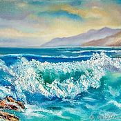 Картины и панно handmade. Livemaster - original item Oil painting palette knife Wave seascape on canvas. Handmade.