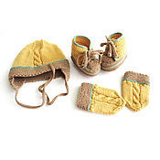 Работы для детей, handmade. Livemaster - original item set knitted for a boy hat, booties, mittens for her hands. Handmade.