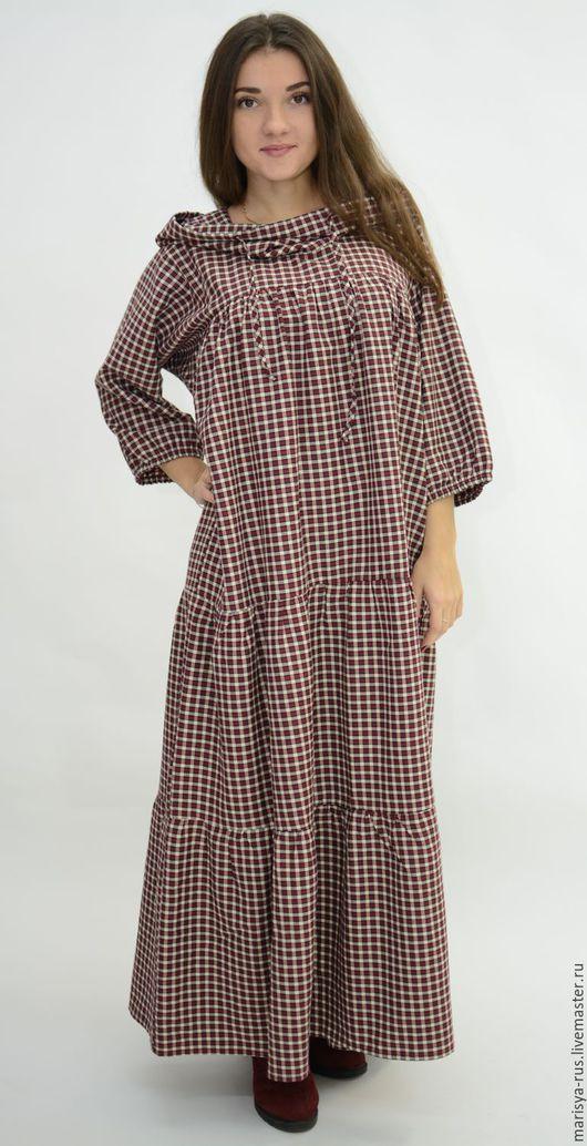 Платья ручной работы. Ярмарка Мастеров - ручная работа. Купить Шерстяное платье с капюшоном. Handmade. Бордовый, теплое платье