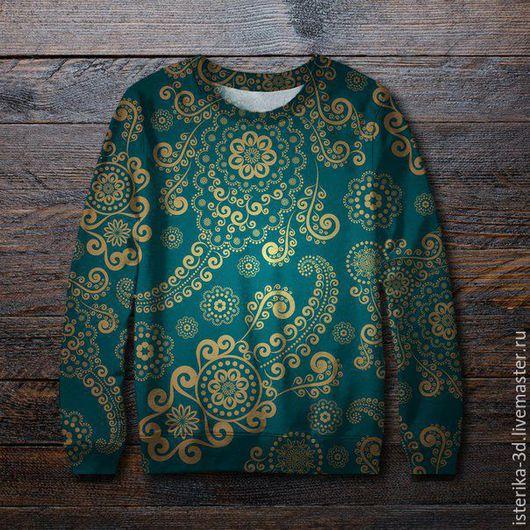Кофты и свитера ручной работы. Ярмарка Мастеров - ручная работа. Купить Свитшот с принтом Орнаменты  - классный подарок. Handmade.