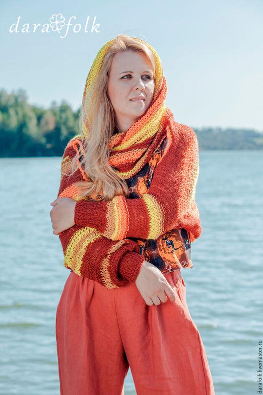 """Этническая одежда ручной работы. Ярмарка Мастеров - ручная работа. Купить Хомут с рукавами """"Солнце Австралии"""". Handmade. Рыжий, Австралия"""