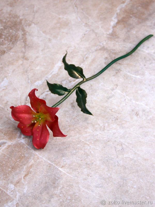 8884117fa2bee1c Розовая лилия №2 из латуни, кованая – купить в интернет-магазине на ...