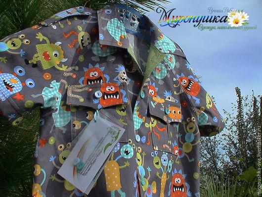 """Одежда для мальчиков, ручной работы. Ярмарка Мастеров - ручная работа. Купить Рубашка """"Монстрики в моей голове"""". Handmade. Серый, рубашка"""