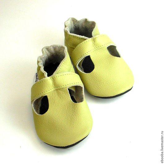Кожаные чешки тапочки пинетки сандалики оливковые ebooba