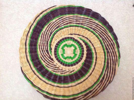 Тарелка панно плетеная `4`.  Ярмарка Мастеров - ручная работа. Купить плетеную тарелку панно. Handmade. Тарелка настенная . Африканский стиль. Экостиль. Коричневый, зеленый, бежевый.