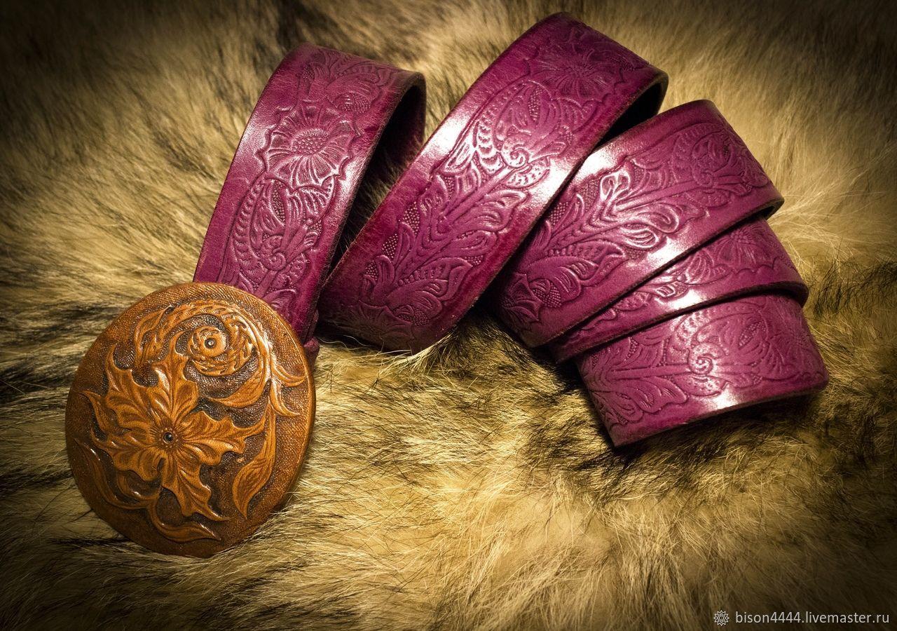 Belts handmade. Livemaster - handmade. Buy Women's strap leather.Boho style, lilac, leather belt, gift girl