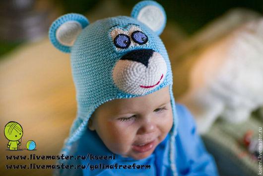 """Шапки и шарфы ручной работы. Ярмарка Мастеров - ручная работа. Купить Вязаная детская шапочка """"Медвежонок"""". Handmade. Голубой, медведь"""