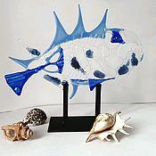 Для дома и интерьера handmade. Livemaster - original item Blue Fish Glass Sculpture. Handmade.
