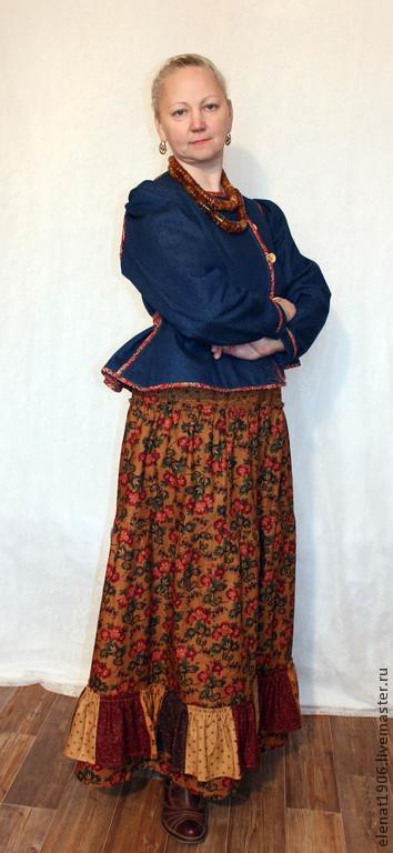 """Костюмы ручной работы. Ярмарка Мастеров - ручная работа. Купить Костюм """"В стиле джинс""""  шугай и юбка. Handmade. Разноцветный"""