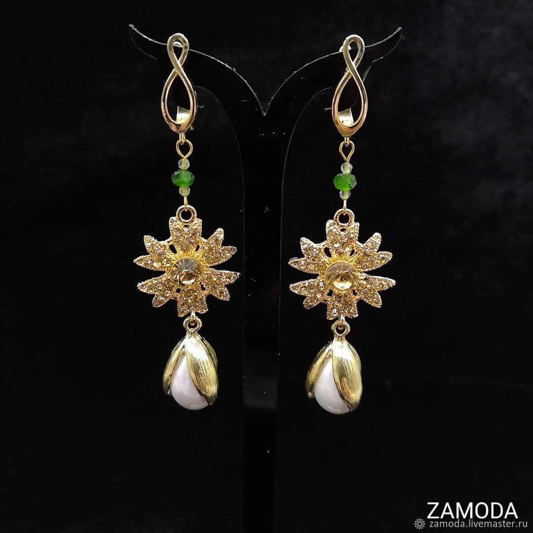 Earrings with peridot and chrome diopside, Earrings, Kotelniki,  Фото №1