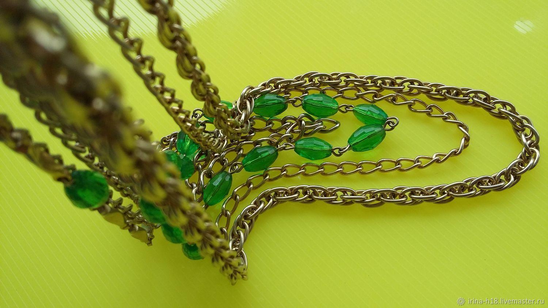 Collar de cadena de múltiples hileras Vintage con lucite verde,, Vintage necklace, Blagoveshchensk,  Фото №1