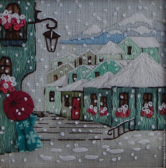"""Город ручной работы. Ярмарка Мастеров - ручная работа. Купить Вышитая картина """"Внезапный снег"""". Handmade. Бирюзовый, сказочные домики"""