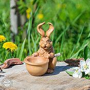 Сибирский Кедр Кролик Пасхальный Ручная работа Резьба по дереву #K3