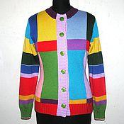 Одежда ручной работы. Ярмарка Мастеров - ручная работа Кардиган разноцветный. Handmade.