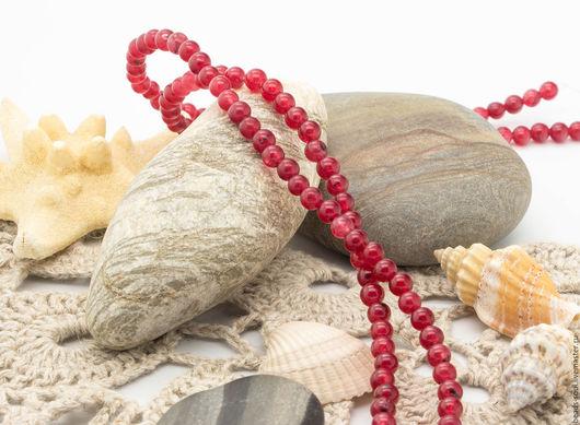 Для украшений ручной работы. Ярмарка Мастеров - ручная работа. Купить Кварц тонированный, имитация рубина бусины шар 4.5мм - арт.1-13. Handmade.