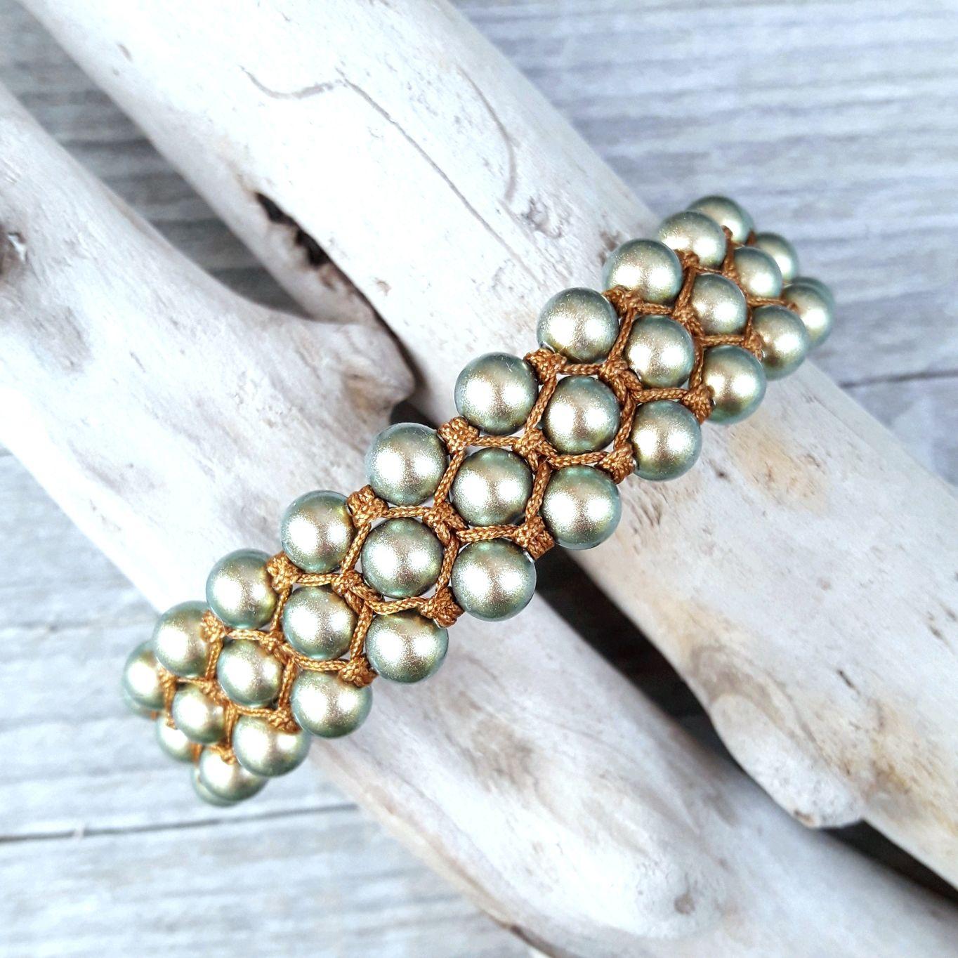 Swarovski green artificial pearl bracelet, Braided bracelet, Moscow,  Фото №1