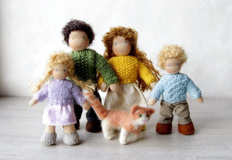 Вальдорфская игрушка: семья с котом для кукольного домика, Вальдорфские куклы и звери, Козьмодемьянск,  Фото №1