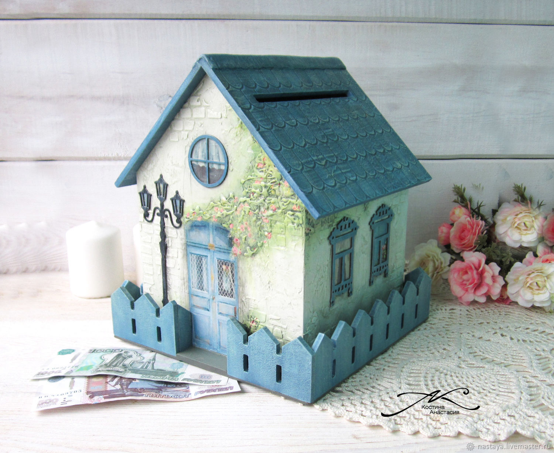 Wedding money house piggy Bank wooden decoupage white blue, Chests, Barnaul,  Фото №1