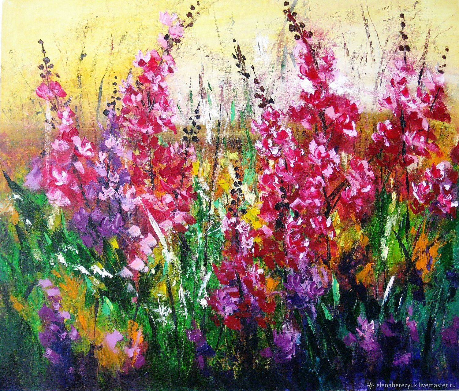 Pink flowers oil painting on canvas summer landscape with flowers flower paintings handmade livemaster handmade buy pink flowers oil painting on canvas summer mightylinksfo