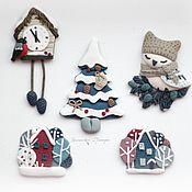 Украшения ручной работы. Ярмарка Мастеров - ручная работа Новогодняя сказка. В наличии синий домик. Handmade.