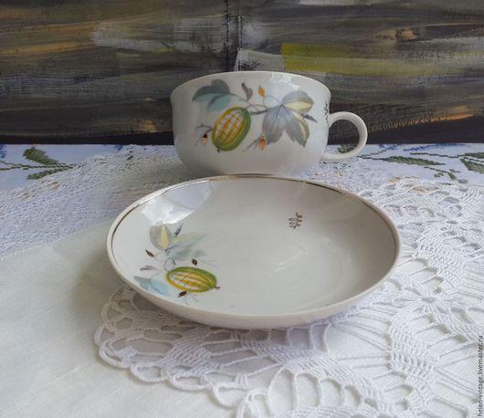 Винтажная посуда. Ярмарка Мастеров - ручная работа. Купить Чайная пара. Handmade. Комбинированный, советский фарфор, дулево, блошиный рынок