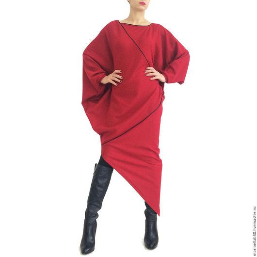 Платья ручной работы. Ярмарка Мастеров - ручная работа. Купить RALICA асимметричный свитер платье макси. Handmade. Ярко-красный