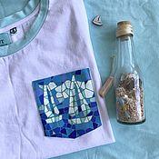 Одежда handmade. Livemaster - original item Video white t-shirt with pocket mosaic sailboats. Handmade.