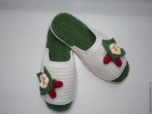 """Обувь ручной работы. Ярмарка Мастеров - ручная работа. Купить Домашние тапочки """"Виктория"""". Handmade. Тапки домашние, зеленый цвет"""