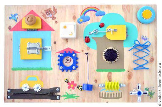 """Развивающие игрушки ручной работы. Ярмарка Мастеров - ручная работа. Купить Бизиборд """"Домик в деревне"""". Handmade. Бизиборд, логика"""