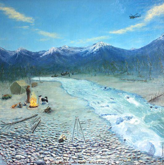 Пейзаж ручной работы. Ярмарка Мастеров - ручная работа. Купить Геология. Handmade. Комбинированный, холст на подрамнике