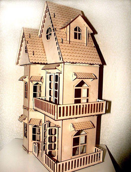 Кукольный дом ручной работы. Ярмарка Мастеров - ручная работа. Купить Кукольный домик с 6 комплектами мебели. Handmade. для детей