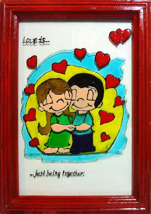Подарки для влюбленных ручной работы. Ярмарка Мастеров - ручная работа. Купить Рисунок на стекле влюбленная пара Love is... Handmade.