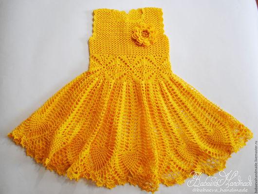 """Одежда для девочек, ручной работы. Ярмарка Мастеров - ручная работа. Купить Платье  для девочки """"Весенний цветок"""". Handmade. Желтый"""