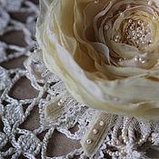 """Украшения ручной работы. Ярмарка Мастеров - ручная работа Брошь цветок роза из ткани """"Чайная роза"""". Handmade."""