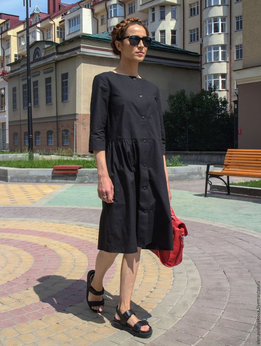 Платья ручной работы. Ярмарка Мастеров - ручная работа. Купить Платье с асимметричной сборкой. Handmade. Черный, дизайнерское платье
